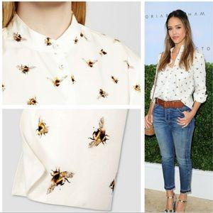 Victoria Beckham bee button up blouse
